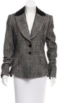 Carolina Herrera Velvet-Paneled Fitted Blazer