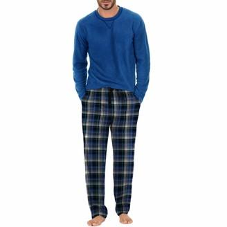 Izod Men's Yarn-dye Flannel Pant and Microfleece Crew Top Pajama Set