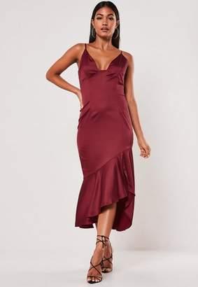 Missguided Satin Ruffle Hem Slip Midi Dress