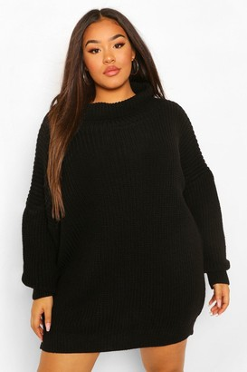 boohoo Plus Slash Neck Sweater Dress