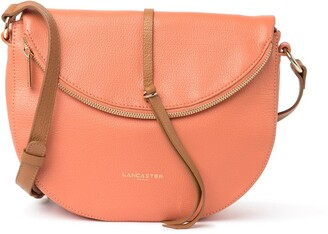 Lancaster Paris Leather Zipper Flap Crossbody Bag