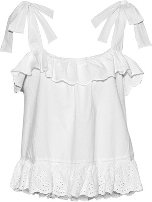 Love Sam Rosa Exelit Ruffled Broderie Anglaise Cotton Top