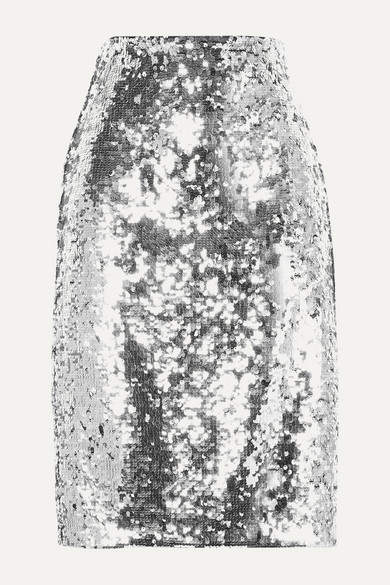 Alice + Olivia Alice Olivia - Ramos Sequined Tulle Skirt - Silver