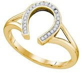 DazzlingRock Collection 0.07 Carat (ctw) 10K Yellow Gold Round Cut White Diamond Ladies Right Hand Horse Shoe Ring