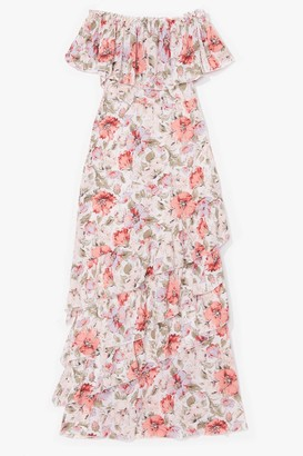 Nasty Gal Womens A Little Off-the-Shoulder Floral Maxi Dress - Tan - 4, Tan