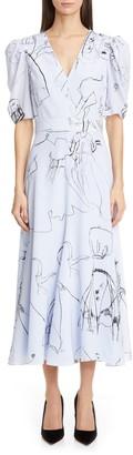 Alexander McQueen Dancing Girls Puff Sleeve Silk Crepe de Chine Midi Dress