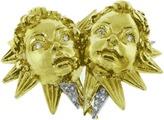 David Webb 18K Yellow Gold & Platinum 1ct Diamond Gemini Brooch