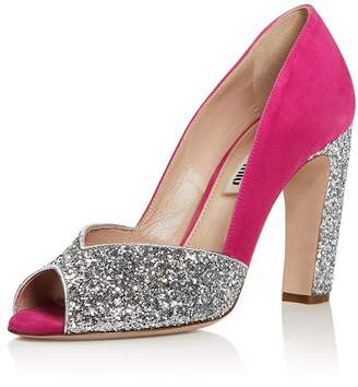 Miu Miu Women's Glitter Peep Toe Pumps