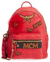 MCM 'Small Stark Insignia' Leather Backpack With Genuine Fox Fur Trim - Red