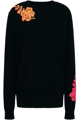 Christopher Kane Lace-appliqued Cashmere Sweater