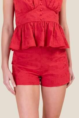 francesca's Avery Eyelet Classic Shorts - Red