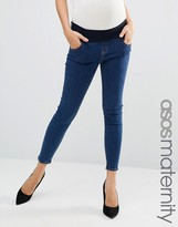 Asos Ridley Skinny Jeans In Kelsey Flat Wash Blue With Under The Bump Waistband