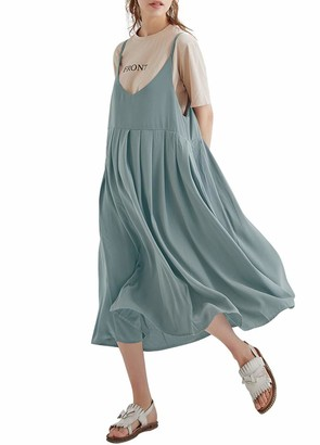 Romacci Women Vintage Loose Cotton Long Dress Spaghetti Straps High Waist Solid Casual Midi Dress Big Swing Pleated Dress Black