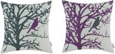 Set of 2 CaliTime Home Decor Cushion Covers Pillows Shell Cotton Linen Blend Natural Print Solid Bird in Tree Black Purple