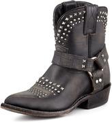 Billy Short Studded Biker Boot, Black