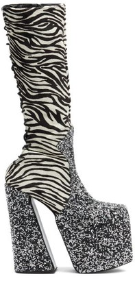 Harris Reed X Roker - The H Zebra-stripe Calf-hair Platform Boots - Multi