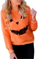 Susenstone Women Halloween Pumpkin Print Long Sleeve Sweatshirt Pullover Tops Blouse Shirt (XL)
