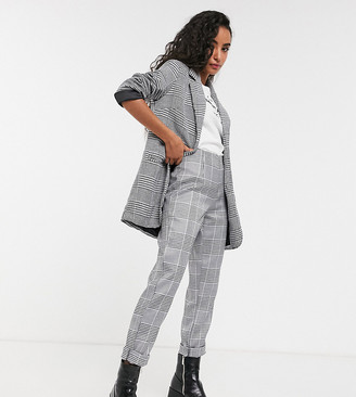 Parisian check tailored slim leg pants