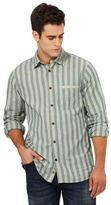 Mantaray Big And Tall Light Turquoise Striped Print Regular Fit Shirt