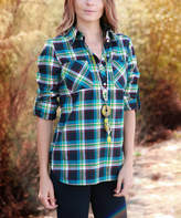 Lily Blue & Green Plaid Pocket Button-Front Top - Plus Too
