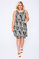 Yours Clothing Black & Cream Palm Pocket Dress With Elasticated Waistband