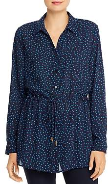 T Tahari Dot-Print Drawstring Tunic Top