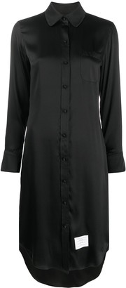 Thom Browne Classic Long Sleeve w/ Round Collar Shirtdress In Double Face Satin Chiffon