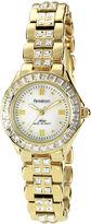 Swarovski Armitron Now Womens Crystal-Accent Gold-Tone Brass Watch