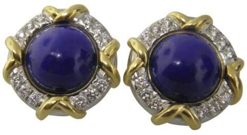 Tiffany & Co. 18K White & Yellow Gold Lapis & 1.1ct. Diamond Earrings