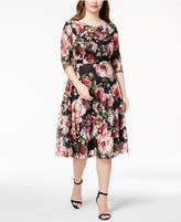 Sangria Plus Size Printed Lace A-Line Dress