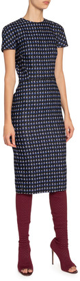 Victoria Beckham Houndstooth Jacquard T-Shirt Dress