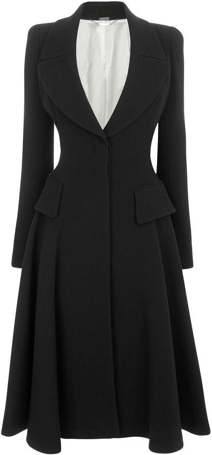 Alexander McQueen Black Crepe Wool Riding Coat