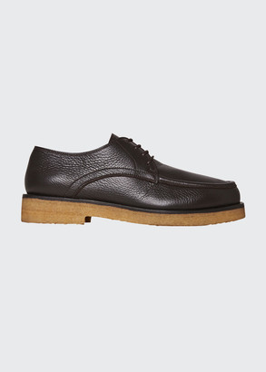 The Row Honore Grained Leather Derby Shoes