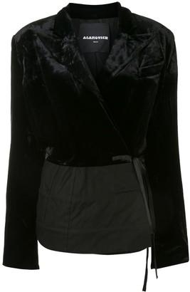 aganovich Velvet Panel Wrap-Around Blazer