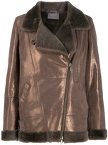 Lorena Antoniazzi metallic leather biker jacket