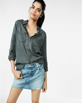 Express raw hem denim mini skirt