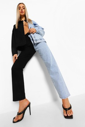 boohoo Acid Wash Waistband Detail Colour Block Jean