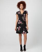 Le Château Floral Print Knit Wrap-Like Dress