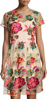 Neiman Marcus Embroidered-Mesh Overlay Dress, Multi Pattern