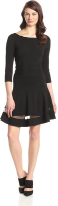 Erin Fetherston Erin Women's Tess Ponte Lace Hem Fit and Flare Dress
