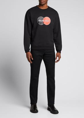 Balenciaga Men's Circle Logo Front Crewneck Sweater