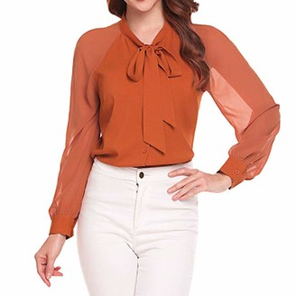 Weant Women T Shirts Womens T-Shirts Long Sleeve Workout Juniors Chiffon Button Down Bow Tie Casual Loose Tunic T-Shirts Blouse Tops for Ladies Teen Girls for Work Elegant Jumper Pullover Sweatshirts Clearance Orange