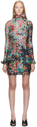 Givenchy Multicolor Flowers Pleated Long Sleeve Dress