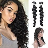 Vogue Queen Pre Plucked 360 Lace Frontal Closure With 2 Bundles Loose Wave Virgin Human Hair Lace Frontal With Baby Hair