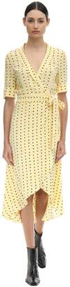 Ganni Printed Crepe Midi Wrap Dress
