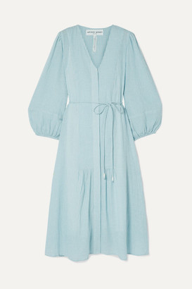Apiece Apart Laguna Belted Striped Organic Cotton-voile Midi Dress - Sky blue