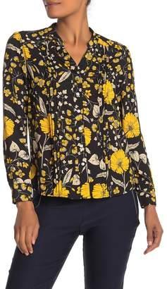 Nanette Lepore NANETTE Long Sleeve Mandarin Collar Blouse