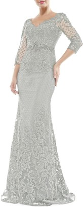 Marsoni By Colors V-Neck Lace Overlay Gown