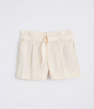 LOFT Petite Herringbone Belted Paper Bag Shorts