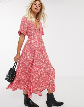 Free People in full bloom floral midi dress in red